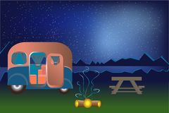 Illustrations-Nachtlandschaft der Karikatur kampierende im Freien
