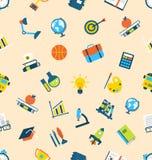 Illustrations-nahtlose Beschaffenheit mit Ikonen des Bildungs-Einzelteils Lizenzfreie Stockbilder