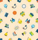 Illustrations-nahtloses Muster mit Ikonen von Bildungs-Themen Stockbild