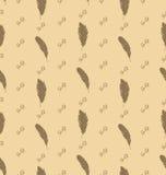 Illustrations-nahtloses Muster von Federn mit aufwändigen Elementen Stockfotos
