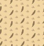 Illustrations-nahtloses Muster von Federn mit Verzierungs-Elementen Stockfotografie