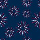 Illustrations-nahtloses Musterfeuerwerk für Unabhängigkeitstag von USA, Tapete für amerikanische Feiertage Stockbilder
