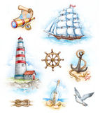 Illustrations nautiques d'aquarelle image stock