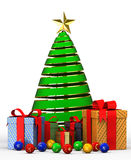 Illustrations new year  tree with gifts. 3d Illustrations new year  tree with gifts Stock Photos