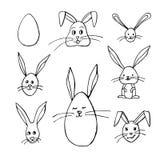 Illustrations noires et blanches de bunnys de Pâques illustration libre de droits