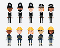 Illustrations Of Occupations In UK Police And Fire Services. People Royalty Free Stock Photography