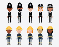 Illustrations Of Occupations In UK Police And Fire Services Stock Photo