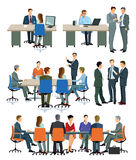Illustrations of office meetings and presentations vector illustration