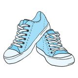 Illustrations. Pair of blue sneakers on white background stock illustration