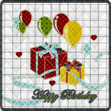 Illustrations patchwork of balloon with gift Stock Photos