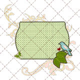 Illustrations patchwork birthday card with frame Royalty Free Stock Image