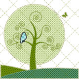 Illustrations patchwork birthday card with tree Stock Photos
