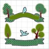 Illustrations patchwork of birthday ribbon Stock Image