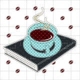 Illustrations patchwork of Coffee cup and book Stock Photography