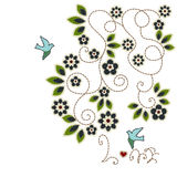 Illustrations patchwork of Leaves flowers birds Royalty Free Stock Photography