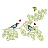 Illustrations patchwork love bird Stock Photography
