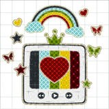 Illustrations patchwork of retro tv color screen r Royalty Free Stock Photography