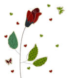 Illustrations patchwork of rose heart butterfly Stock Photos