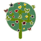 Illustrations patchwork tree with star Stock Photos