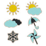 Illustrations patchwork Weather icon Royalty Free Stock Image