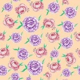 Seamless pattern with peonies on an orange background. vector illustration