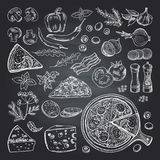 Illustrations of pizza ingredients on black chalkboard. Pictures set of italian kitchen. Italian food pizza, restaurant menu sketch with ingredient vector Stock Photography