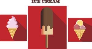 Illustrations plates de crème glacée de vecteur réglées illustration stock