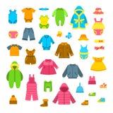 Illustrations plates de vecteur de vêtements de bébé réglées illustration stock