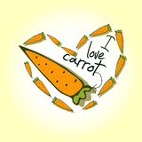 Illustrations, Print I love carrots. The template can be used for packaging, printing on cups, bags, wallpaper, textiles Stock Photo