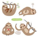 Illustrations réglées d'animal mignon avec des caractères illustration libre de droits