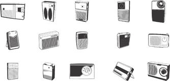 Illustrations of Retro Radios. A set of illustrations of retro radios Stock Image