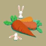 Illustrations-Sätze: Die Kaninchen und die großen Karotten lokalisiert Lizenzfreie Stockfotos