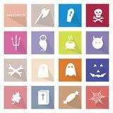 Illustrations-Sammlung von 16 Halloween-Festival-Ikonen Stockbilder