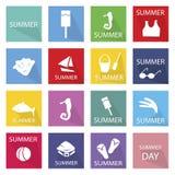 Illustrations-Satz der 16 Sommersaison-Ikone Lizenzfreie Stockfotografie