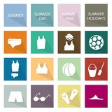 Illustrations-Satz der 16 Sommersaison-Ikone Lizenzfreie Stockbilder
