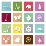 Illustrations-Satz der 16 Winter-Ikonen-Fahne Stockbilder