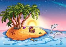 Illustrations-Schatz-Insel am Sonnenuntergang und an den netten Delphinen Lizenzfreies Stockfoto