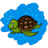 Illustrations of sea turtles. Under water Stock Photo