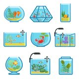Illustrations set of different aquariums with fishes and saltwater. Underwater world. In aquarium with gold fish vector Stock Images