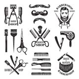 Illustrations set of different barber shop tools. Symbols for badges and labels. Barber shop and hair salon for man badge vector royalty free illustration