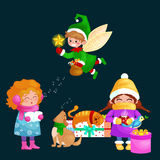Illustrations set Merry Christmas Happy new year, girl sing holiday songs with dog pets, cat and dog enjoy presents, elf Stock Image