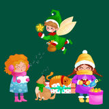Illustrations set Merry Christmas Happy new year, girl sing holiday songs with dog pets, cat and dog enjoy presents, elf Stock Photos