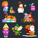 Illustrations set Merry Christmas Happy new year, girl sing holiday songs with pets, snowman gifts, cat and dog enjoy Royalty Free Stock Images