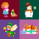 Illustrations set Merry Christmas Happy new year, girl sing holiday songs with pets, snowman gifts, cat and dog enjoy. Illustrations set Merry Christmas Happy vector illustration