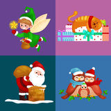 Illustrations set Merry Christmas Happy new year, girl sing holiday songs with pets, snowman gifts, cat and dog enjoy Stock Images