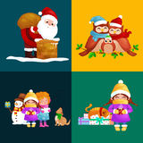 Illustrations set Merry Christmas Happy new year, girl sing holiday songs with pets, snowman gifts, cat and dog enjoy Stock Image