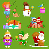 Illustrations set Merry Christmas Happy new year, girl sing holiday songs with pets, snowman gifts, cat and dog enjoy Royalty Free Stock Photo