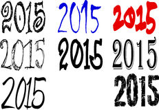 2015 illustrations. A set of illustrations with the number 2015 Stock Photos