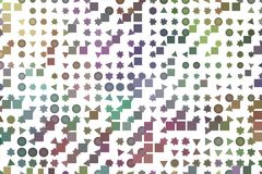 Illustrations of shape. For wallpaper or graphic design. Pattern, element, artwork, technology & square. Mixed colored rectangle, triangle, circle, ellipse Stock Image