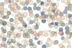 Illustrations of shape. For wallpaper or graphic design. Pattern, texture, art, white & background. Random colored abstract overlapping circles, bubbles or Stock Photography